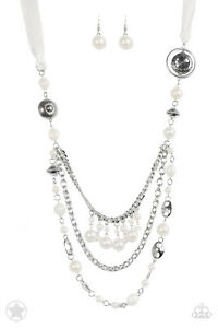 Paparazzi All The Trimmings - Ivory Blockbuster Necklace