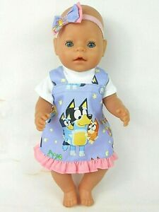 """Dolls clothes for 17"""" BABY BORN/16"""" CPK DOLL~BLUEY PURPLE PINAFORE DRESS SET"""