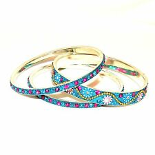 "BR492f Turquoise Blue 20mm Flowered Aluminum 3 Bangle Bracelet Set 2.75"" Inside"