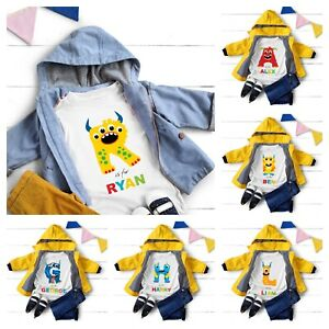 Personalised T Shirt Monster Name Novelty Kids Children Toddler Boys Girls Gift