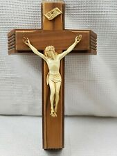 Vintage Sunco Wood Last Rites Sick Call Crucifix Wooden Cross Holy Water Bottle