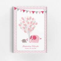 Taufe Geschenk Mädchen Baby Geburt Name Datum Personalisiert Elefanten Rosa Bild