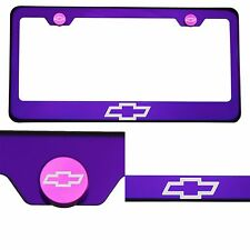 Candy Purple License Plate Frame T304 Stainless Steel Laser Engraved Chevy Logo