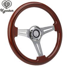 14inch  Alloy Wood Grain Trim  Classic Wooden Chrome Spoke Steering Wheel Wooden