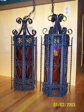Vintage hand made,iron Gothic chandeliers, pair, 6 paneled textured amber glass