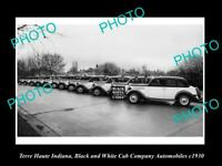 OLD POSTCARD SIZE PHOTO OF TERRE HAUTE INDIANA THE CAB Co CARS c1930