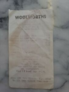 Woolworths Receipt 11/03/08 Store 0298 Sittingbourne Imperfect