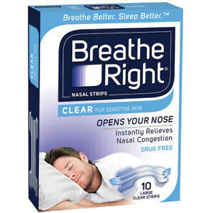 * BREATHE RIGHT NASAL STRIPS 10 LARGE CLEAR STRIPS NASAL CONGESTION RELIEF