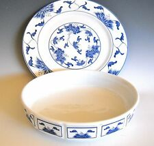 "Tatung Taiwan Porcelain Blue White Serving Dish and 10 7/8"" Platter Plate"