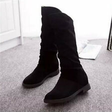 New Womens Pixie Mid Calf Rouched Flat Pull On Knee Long Faux Suede Slouch Boots