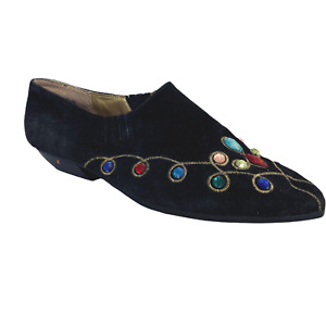 Vintage 80s Slip On Suede Shoes 8.5 Bejeweled TRANSIT New York Faux Stones