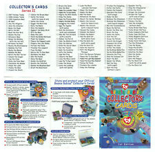 Ty Beanie Babies Collector's Cards Checklist ~ Series 2 - 1St Edition~New 2