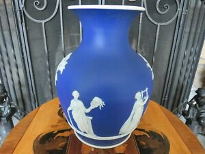 "Antique Wedgwood Blue Jasperware 10 1/4"" Portland No Handles Mold 953 Vase Muses"