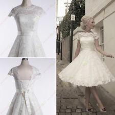 New White/Ivory Lace Short Wedding Dress Size 6 8 10 12 14 16 Or Custom Vintage