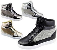 Womens Wedge Heel High Top Ankle Boot Ladies Diamante Summer Shoes