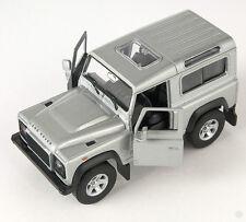 BLITZ VERSAND Land Rover Defender silber silver Welly Modell Auto 1:34 NEU & OVP