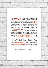 30 Seconds To Mars - A Beautiful Lie - Song Lyric Art Poster - A4 Size
