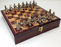 MEDIEVAL TIMES CRUSADES BUSTS PAINTED Chess Set W Cherry Color STORAGE BOARD