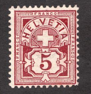 SG128Bd - Switzerland - 5 Franco - 1882 - Helvetia - MNG - superfleas - cv £38