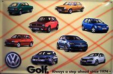 VW Volkswagen Golf Geschichte Blechschild Schild 3D geprägt Tin Sign 20 x 30 cm