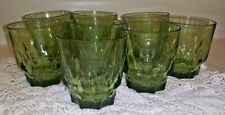 Set 8 Vintage Green Thumbprint Drinking Glasses Juice Glasses 6 oz