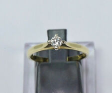 Superior Brillante Anillo 14kt Oro Diamante Solitario 0,19 Qt. nr.1597