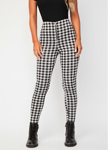 NEW GUESS Womens Pants Black White Gingham High Rise Skinny Ponte Knit Size S