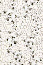 Anthropologie Wallpaper BEE COLONY Insects Bugs Honeycomb Gold Yellow USA NWT