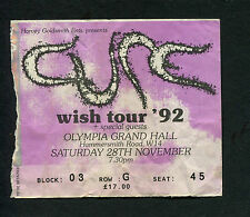 Original 1992 The Cure Concert Ticket Stub Olympia Grand Hall London Wish Tour