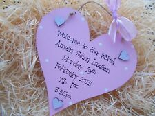 Newborn Baby Girl Or Boy Welcome To The World Wooden Heart Plaque Keepsake Gift