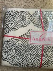 $1500! NWT Ann Gish Infinity 100% Linen QUEEN Duvet Cover - Steel