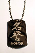 Chinese Calligraphy Character Honor Symbol Dog Tag Metal Chain Necklace Fashion