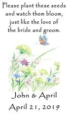 Wedding Favor Seed Packets Personalized Flowers Butterflies Set of 100
