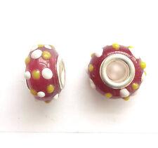 10 lampwork perles de verre 14x9mm trou 5mm rouge pour european charm bracelet