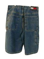 Vintage 90s Tommy Hilfiger Carpenter Jean Shorts Mens Size 34 Large Flag Patch