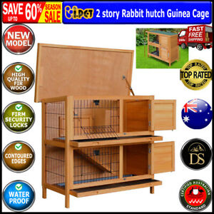 Rabbit Hutch Guinea Pig Cage 2 Storey Wooden Pet Home Hinged Lid Stand Fir Wood
