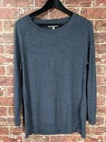 Banana Republic sz L Extra Fine Merino Wool Sweater Grey Knit Jumper