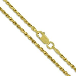 Diamond-Cut Rope Chain 925 Sterling Silver 22k Gold Plated 2mm New Necklace