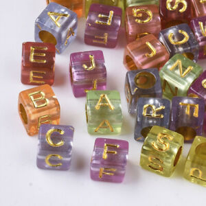 150+ Transparent w/Gold Letter Acrylic Mix Colors Cube Pony Beads Crafts 6x6mm