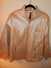 Terry Lewis Sz 1X  Metallic Gold Leather Motorcycle Jacket  Women's Zip up