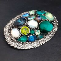 Stunning Large 1980s SPHINX Style Silvertone Brooch Pin - Green & Blue Shades
