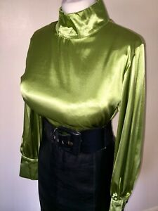 Exquisite Liquid Shiny Satin Highneck Secretary Blouse Size 12,14,16 Bust 40in