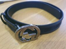 Gucci Belt Womens Black Silver GG Leather And Fabric