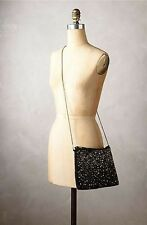 Anthropologie Black Embellished Beaded Jeweled Mosaic Pouch Retails $88.00