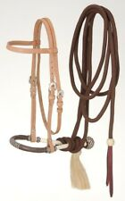 Western Browband Headstall - Bosal - Mecate Set - Light Oil - Horse