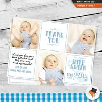 Personalised Baby Birth Announcement Thank You Cards with Envelopes and Photo