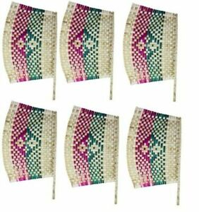 Artistic Handmade Bamboo Wood Pankha Handheld Fan Manual Fan Pankhi Pack of 6