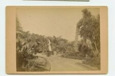Vintage Cabinet Card Gardens and Statues in, Algiers Algeria