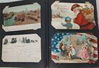 Vintage Postcard Album w 200+ Postcards Santa Airplane Military real photos etc