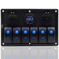 6-fach 12V 24V LED Schalterpanel Schalttafel Doppelt USB Auto Boot Bus Voltmeter